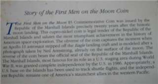 MARSHALL ISLANDS $5 1989 UNC First Man on the Moon