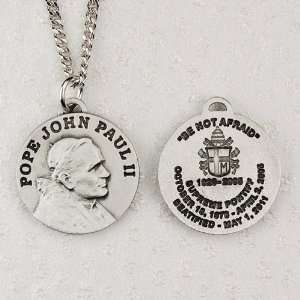 Pewter Pope John Paul II Medium Comes With 20 Chain In