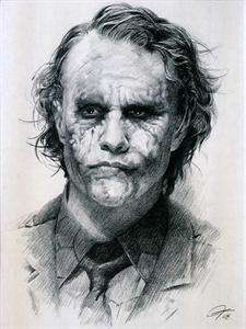 Heath Ledger Joker Sketch Charcoal Pencil Drawing