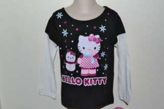 Hello Kitty Mock Layered Long Sleeve Shirt Size 3T 4T 5T Black