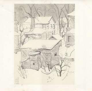CHARLES BURCHFIELD print winter village scene GENTLE SNOW FALL