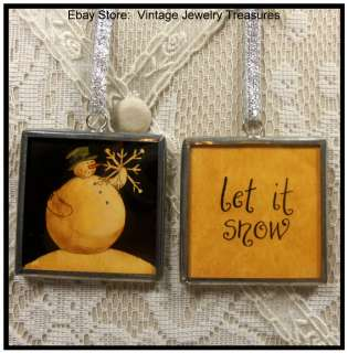 Glass Christmas Tree Ornament~LET IT SNOW~Snowman~Snowflake
