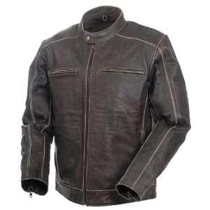Mossi Mens Nomad Premium Leather Jacket 46 Distressed