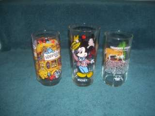 Collector Glasses (3) Mickey & Minnie Mouse The Muppets Pepsi +