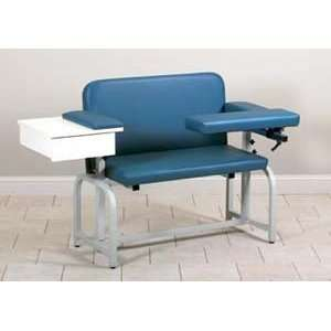 Extra wide blood drawing chair with drawer and flip arm