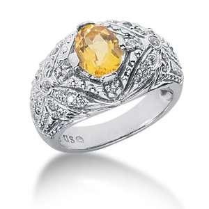 1.5 Ct Diamond Citrine Ring Engagement Oval cut 14k White