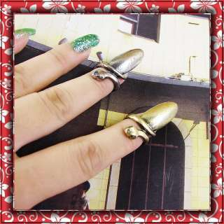1pair(gold/silver)Vintage style punk snake Bullet fashion women nail