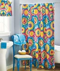 Tie Dye PEACE Sign Bursts Bathroom Fabric Shower Curtain NEW