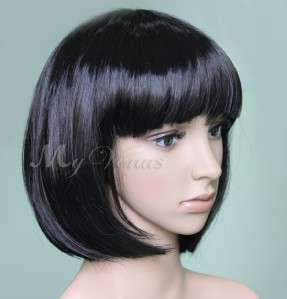 Black Bob Style Hair Wigs Wig Short Straight Full Wig Synthetic Party