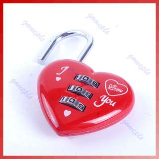 Digits Luggage Suitcase Padlock Red Heart Shaped Coded Lock