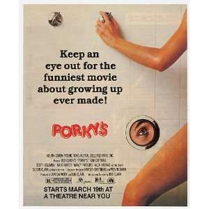 1982 Porkys Movie Shower Scene Promo Print Ad (Movie