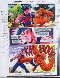 MARVEL COMIC BOOK COLOR GUIDE ART PAGE 8HULK/FANTASTIC FOUR THING vs