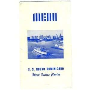 S S Nuevo Dominicano Menu West Indies Cruise 1951