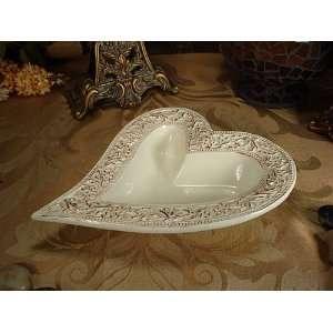 Wedding Favors Heart shape dish ivory Trieste design   D