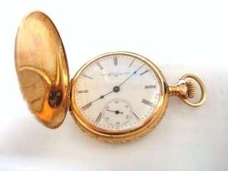 Antique Ladies Elgin 14kt Solid Gold 15 Jewel Pocket Watch Hunter Case