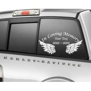 Wings 2 In Loving Memory Custom Car or Wall Vinyl Decal