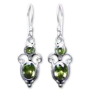 Silver and Green Peridot Dangle Earrings, Crown Princess Jewelry