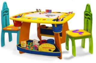 NEW CRAYOLA CHILDRENS KIDS DRY ERASE CHALKBOARD TABLE & CHAIRS