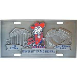 NCAA Ole Miss Rebels 3D Pewter License Plate  Sports