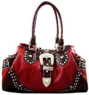 Cowgirl Rhinestone Belt Buckle Stud Accent Satchel Purse Handbag Red