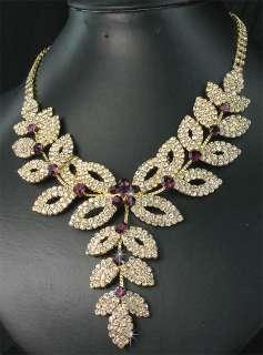 Bridesmaids Purple Flower Diamanate Crystal Necklace Earrings Set