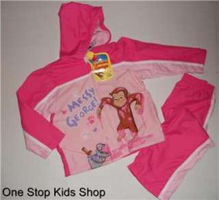 CURIOUS GEORGE Girls 3T 4T 5T Set OUTFIT Shirt Hoodie Pants Top Monkey