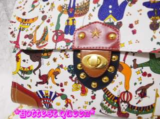 Rare Vintage Colorful Circus Print Shoulder Bag Handbag