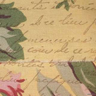h49 muslin yellow rose vintage french script ribbon