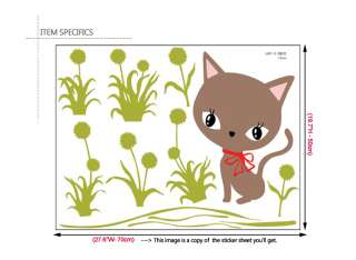 CAT & DANDELION Home Decor Mural Art Wall Sticker Paper