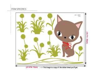 CAT & DANDELION Home Decor Mural Art Wall Sticker Paper