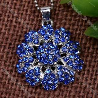 Dark Blue Crystal & Rhinestone Beauty Flower Pendant 1p