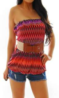 RUE 21 Black Purple Coral Orange Belted Bubble Tube Forever Shirt