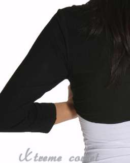 Cute Black Long Sleeve Bolero Cardigan Shrug Tops