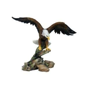 Landing American Eagle Brown White Gold Green Figurine Home & Kitchen