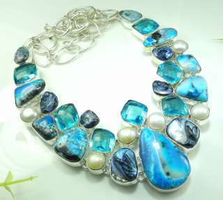 HUGE DENDRITIC OPAL+BLUE TOPAZ+RIVER PEARL SILVER NECKLACE 20; R9426