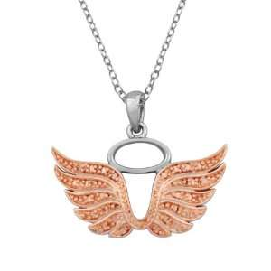 and Rose Gold Plated Diamond Accent Angel Wings with Halo Pendant, 18