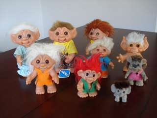 Vintage DAM DENMARK TROLL DOLLS LOT OF 9 1960s Animals Includes Rat