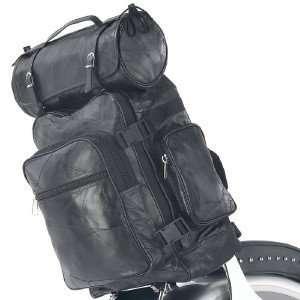 Black Leather 3pc Motorcycle Luggage Bag Set   Fits Harley