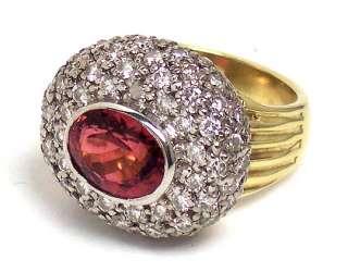 ESTATE 18k GOLD RHODOLITE GARNET & DIAMONDS DOME RING