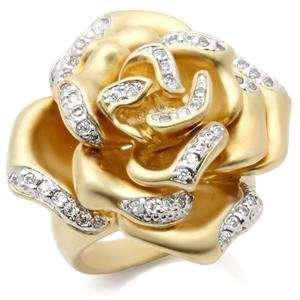 Size 5 Rose Flower Clear Cubic Zirconia Brass Ring AM Jewelry