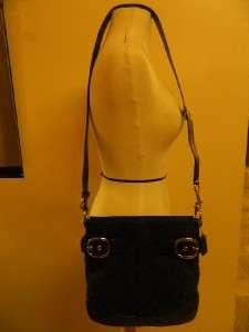 NWT Coach Penelope BLACK Signature Buckle Duffel Bag CROSSBODY Tote ~$