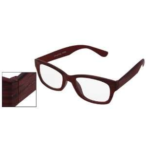 Wood Grain Frame Full Rim Plain Glasses Decor: Health & Personal Care