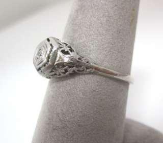 ANTIQUE 1920S ART DECO FILIGREE WHITE GOLD DIAMOND ENGAGEMENT RING
