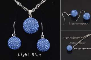 12mm Disco Ball Necklace 10mm Swarovski Crystal Earring Stud Fashion