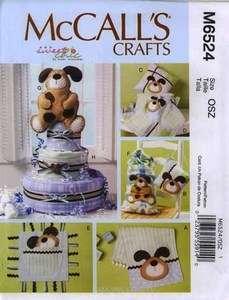 Pattern M6524 Baby Burp cloth Pillows Blanket Toy Dog Diaper cake 6524
