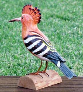 HOOPOE HAND CARVED & PAINTED WOOD SCULPTURE BIRD MALE