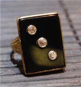 15K GOLD DIAMOND ONYX RING SQUARE VINTAGE OLD DIAMONDS
