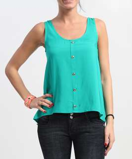 Front Crepe SLEEVELESS BLOUSE Chic High Low Scoopneck Tank Top