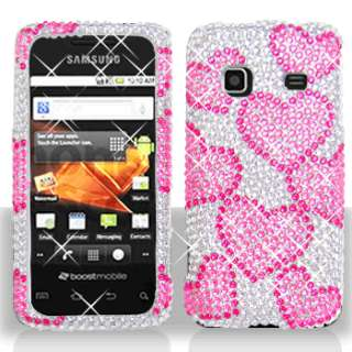 RAINING HEART BLING DIAMOND CASE COVER for SAMSUNG M820 PREVAIL BOOST