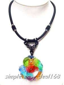 Glaze Lampwork Art Glass DRAGON SYMBOL Pendant Necklace